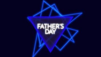 animação texto dia dos pais sobre fundo de moda e clube com triângulos de néon azuis brilhantes