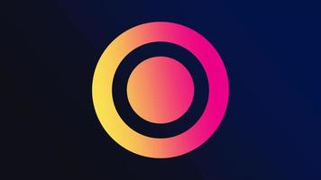 Motion geometric gradient yellow and red circles, retro abstract background video