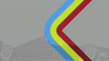 movimento linhas geométricas abstratas e carro esporte, fundo retrô de fórmula um