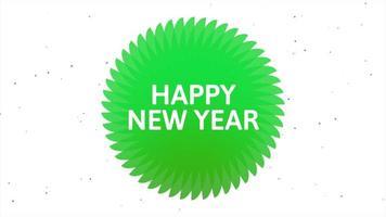 texto de introdução de animação feliz ano novo em fundo de moda branca e minimalismo com círculo verde
