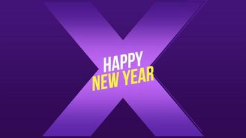 Animation text Happy New Year and motion abstract geometric shapes, Memphis background video