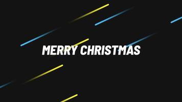 animação texto de introdução feliz natal em fundo de moda e clube com linhas de movimento brilhantes em azul e amarelo video