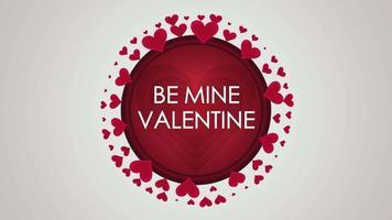 closeup animado seja meu texto de dia dos namorados e movimento romântico pequenos corações vermelhos no fundo do dia dos namorados
