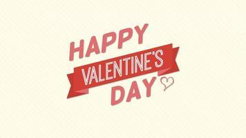 animierte Nahaufnahme glücklich Valentinstag Text und Bewegung Herz mit Band auf Valentinstag Hintergrund