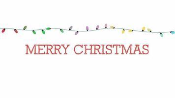 closeup animado texto de feliz natal, guirlanda colorida em fundo branco
