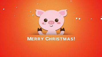 closeup animado texto de feliz natal e porco engraçado