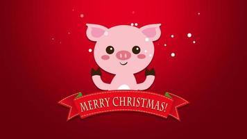 closeup animado texto de feliz natal e porco engraçado video