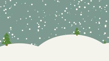 closeup animado floresta de neve com árvores e montanhas, fundo de férias