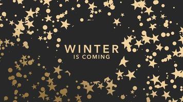 hiver gros plan animé arrive texte et flocons de neige or et étoiles sur fond de vacances d'hiver