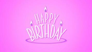 closeup animado texto de feliz aniversário com velas no fundo rosa feriado video