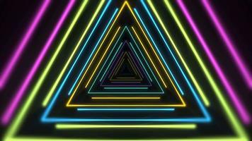triangles de néon colorés de mouvement, fond abstrait video