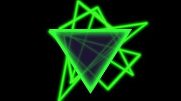 Animation abstract neon green triangles, motion disco background video