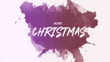 animação texto de introdução feliz natal em hipster branco e fundo grunge com pincel roxo