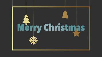 closeup animado texto de feliz natal e brinquedos de natal e flocos de neve em fundo vermelho de férias
