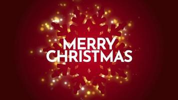 closeup animado com texto de feliz natal e tema de inverno com flocos de neve dourados e brilhos no fundo do feriado