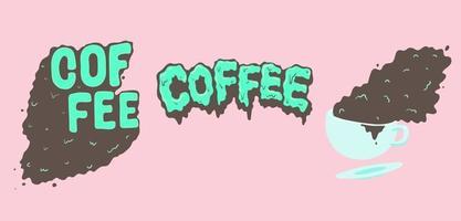 Cute melting cartoon of coffee text set vector