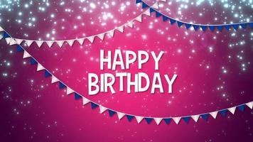 closeup animado feliz aniversário com texto colorido guirlanda no fundo do feriado