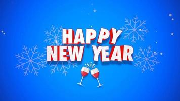 closeup animado texto de feliz ano novo em fundo azul