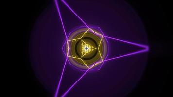movimento forma geométrica de néon colorido no espaço, fundo abstrato video