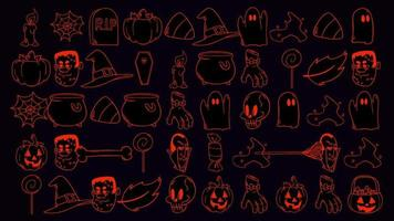 Halloween background animation with the pumpkins, skulls, coffins, ghosts
