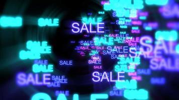 movimiento de venta de texto de neón en fondo oscuro video