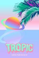 Saturno neón y hojas de palmera. fondo tropical de la playa surrealista vector