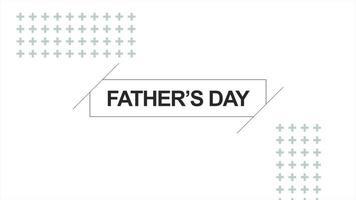animação texto dia dos pais sobre fundo de moda e minimalismo branco com pontos geométricos