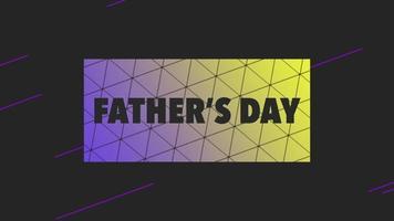 animação texto dia dos pais na moda negra e fundo de minimalismo com padrão geométrico