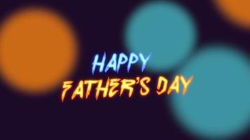 animação texto feliz dia dos pais sobre fundo de moda e clube com círculos de néon verdes e amarelos brilhantes
