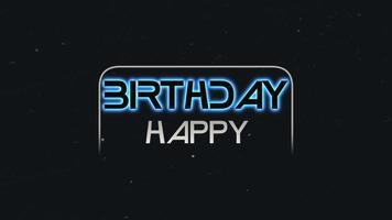animação texto feliz aniversário e movimento texto neon azul abstrato, fundo retro
