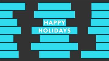 Animación texto de introducción felices fiestas sobre fondo de moda y minimalismo con rayas geométricas