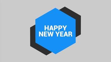 texto de animação feliz ano novo em fundo de moda branca e minimalismo com hexágonos