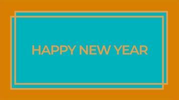 texto de introdução de animação feliz ano novo em fundo azul de moda e minimalismo com moldura geométrica