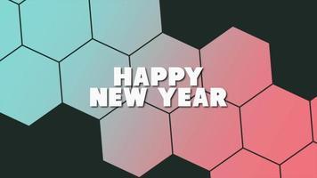 texto de animação feliz ano novo em fundo de moda negra e minimalismo com hexágonos vermelhos e azuis