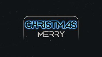 animação texto de introdução feliz natal na moda e plano de fundo do clube com texto brilhante na galáxia