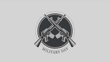animação de texto do dia militar em antecedentes militares com armas