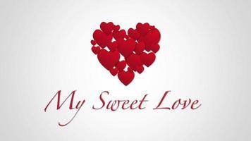 animierte Nahaufnahme meine süße Liebe Text und Bewegung kleine rote Herzen auf Valentinstag Hintergrund