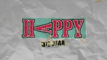 texto de introdução de animação feliz ano novo em papel moderno e fundo grunge