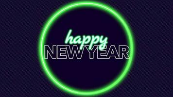 animação texto feliz ano novo na moda e plano de fundo do clube com um círculo verde brilhante