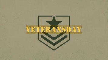 Animation text Veterans Day on warfare background with stamps and stars video