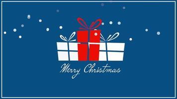closeup animado texto de feliz natal, três caixas de presente em fundo azul video