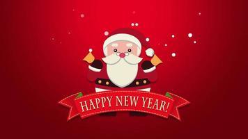 closeup animado texto de feliz ano novo, papai noel com sinos