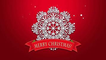 animierte Nahaufnahme frohen Weihnachtstext, weiße Schneeflocken auf rotem Hintergrund