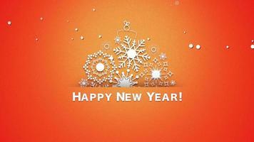 closeup animado texto de feliz ano novo, flocos de neve brancos em fundo laranja