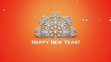 animierte Nahaufnahme Frohes Neues Jahr Text, weiße Schneeflocken auf orange Hintergrund video