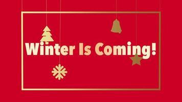 animierte Nahaufnahme Winter kommt Text und Weihnachtsspielzeug und Schneeflocken auf rotem Feiertagshintergrund