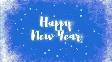 closeup animado texto de feliz ano novo e paisagem de inverno com neve no fundo do feriado