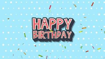 closeup animado texto de feliz aniversário com confete no fundo do feriado