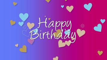 Animated closeup Happy Birthday text with colourful hearts on holiday background video