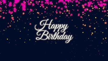 closeup animado texto de feliz aniversário com confetes de estrelas no fundo do feriado